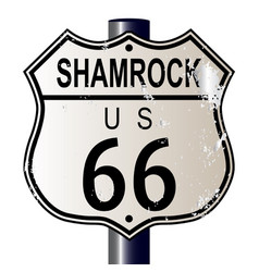 shamrock route 66 sign vector image vector image