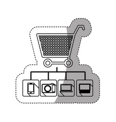 Sticker silhouette shopping cart buy online icon vector