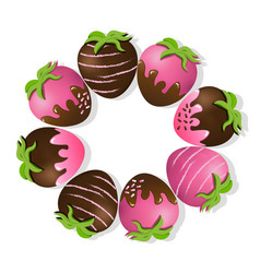 strawberries delicious chocolate dipped top view vector image vector image