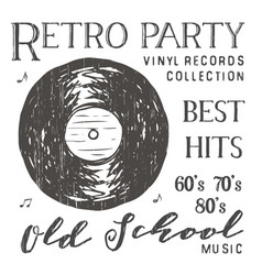 t-shirt design retro party with vinyl record vector image vector image