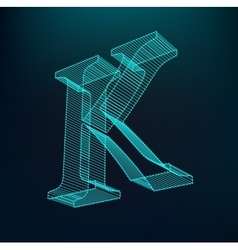 The letter K Polygonal letter Low poly model vector image vector image