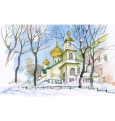 Watercolor winter landscape with church vector image