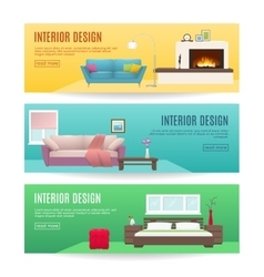 Furniture horizontal banners set vector