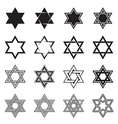 Six-pointed star icons vector