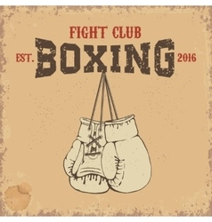 Boxing club emblem two boxing gloves in grunge vector
