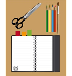 notebook scissors and pencils vector image