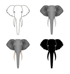 Elephant icon in cartoon style isolated on white vector