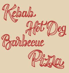 Kebab hot dog pizza barbecue set of hand drawn vector