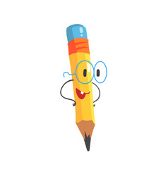 smart cartoon yellow pencil character with hands vector image