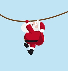 Santa hanging on the rope vector