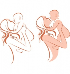 mother holding baby vector image