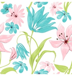 Floral seamless pattern or background retro style vector image
