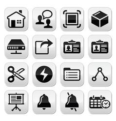 Web internet black buttons set vector image