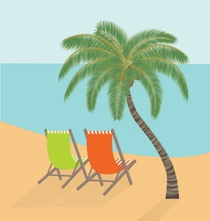 Chaise lounges under a palm tree on the sea coast vector