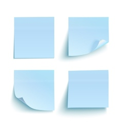 Set of blue sticky notes vector image