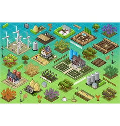 Isometric farm set tiles vector