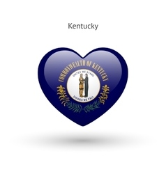 Love kentucky state symbol heart flag icon vector