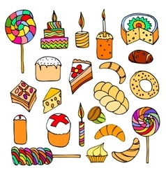 Set of sweets hand-drawn doodle vector