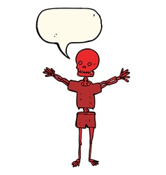 Cartoon skeleton in clothes with speech bubble vector