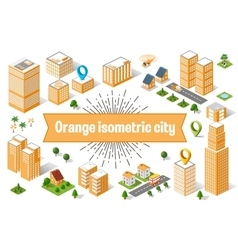 Orange city skyscraper vector