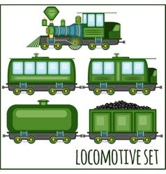 Set of vintage locomotives vector