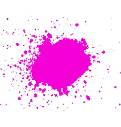 Pink ink paint blob with splatter on white backgro vector