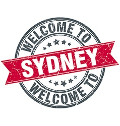 Welcome to sydney red round vintage stamp vector