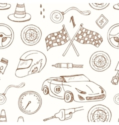 Seamless pattern with racing auto items sketch vector