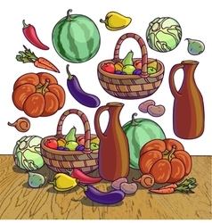 Autumn harvesting of group of vector image vector image