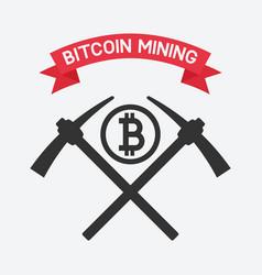 bitcoin mining symbol vector image