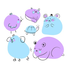 Blue and purple animal doodles vector