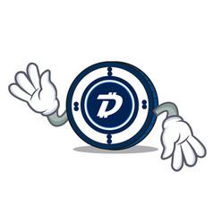 Crazy digibyte coin mascot cartoon vector