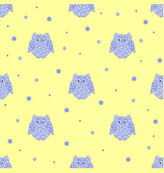 dotted purple owls with yellow backdrop vector image vector image