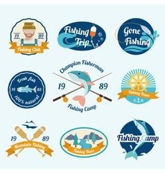 Fishing label set vector image