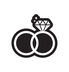 Flat icon in black and white style wedding rings vector