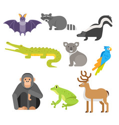 flat style set of animals crocodile raccoon monkey vector image