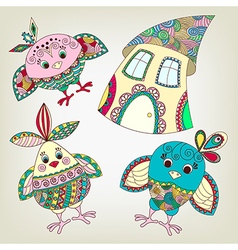 Funny birds and house in ethnic style vector