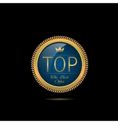 Golden top label vector image vector image