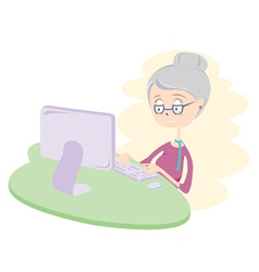 Happy old woman using computer vector