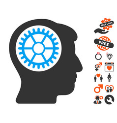 Head cogwheel icon with dating bonus vector
