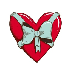 Heart with bow isolated on white vector