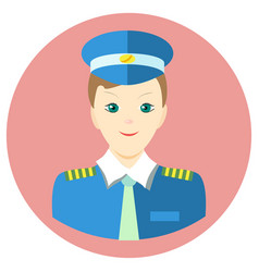 Icon man pilot in a flat style image on a vector