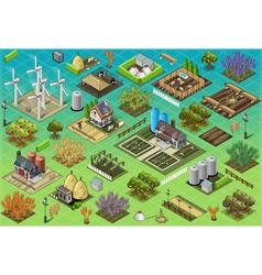 Isometric farm set tiles vector