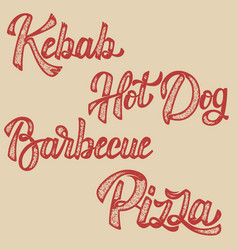 Kebab hot dog pizza barbecue set of hand drawn vector