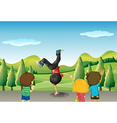 Kids watching a boy dancing vector image vector image
