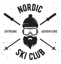Label of ski club vintage mountain winter badge vector