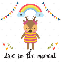 live in the moment inspirational quote hand vector image vector image