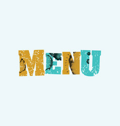 Menu concept colorful stamped word vector