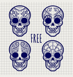 mexican calavera skulls on notebook page vector image vector image