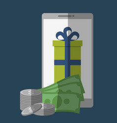 Money and gift box icon vector